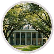 Oak Trees In Front Of A Mansion, Oak Round Beach Towel
