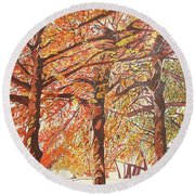 Oak Trees In The Park Round Beach Towel