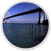 Oakland Bay Bridge 1985 Round Beach Towel