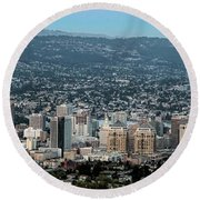 Oakland California Skyline Round Beach Towel