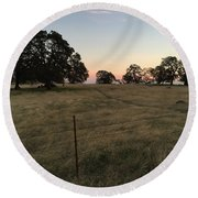 Oaks At Dusk Round Beach Towel