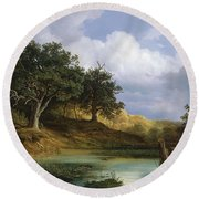 Oaks Beside The Water 1832 By Christian E. B. Morgenstern Round Beach Towel