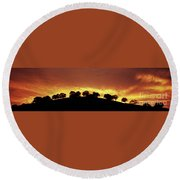 Oaks On Hill At Sunset Round Beach Towel