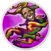 Obama Jester Round Beach Towel