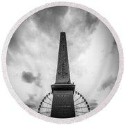 Obelisk And Big Wheel At Place De La Concorde, Paris Round Beach Towel