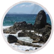 Obelisk In The Sea Round Beach Towel