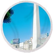 Obelisk On July Nine Avenue In Buenos Aires-argentina Round Beach Towel
