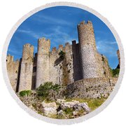 Obidos Castle Round Beach Towel by Carlos Caetano