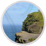 O'brien's Tower Along The Cliff's Of Moher In Ireland Round Beach Towel