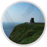 O'brien's Tower At The Cliffs Of Moher Ireland Round Beach Towel