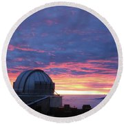 Observatory Sunset Round Beach Towel