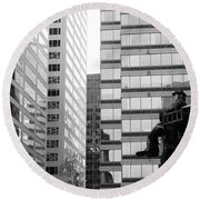 Observing The City Round Beach Towel