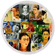 Obsessed With Frida Kahlo Round Beach Towel