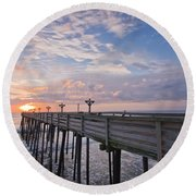 Obx Sunrise Round Beach Towel by Adam Romanowicz