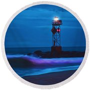 Ocean City Dawn Surf Painted Round Beach Towel