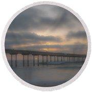 Ocean Beach Pier San Diego Ca Round Beach Towel