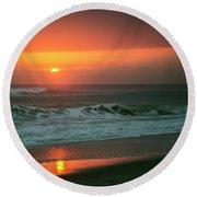 Ocean Beach Sunrise Round Beach Towel