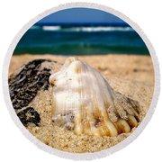 Ocean Beyond A Shell Round Beach Towel