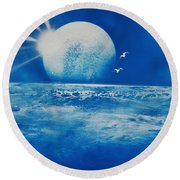 Ocean Blue Round Beach Towel