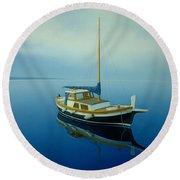 Coastal Wall Art, Ocean Blue, Fishing Boat Paintings Round Beach Towel