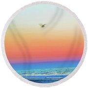 Ocean Breeze Digital Painting Round Beach Towel