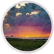 Ocean City Cloudy Sunrise Round Beach Towel