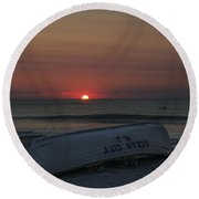 Ocean City New Jersey At Sunrise Round Beach Towel