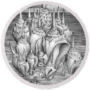Ocean Fantasy. Huge Shells Round Beach Towel