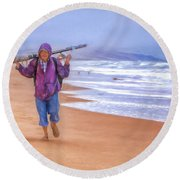 Ocean Fisherman Round Beach Towel