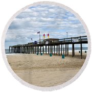 Ocean Fishing Pier Round Beach Towel