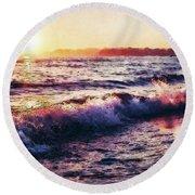 Ocean Landscape Sunrise Round Beach Towel