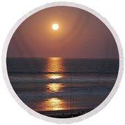 Ocean Moon In Pastels Round Beach Towel