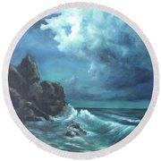 Seascape And Moonlight An Ocean Scene Round Beach Towel by Katalin Luczay