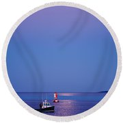 Ocean Moonrise Round Beach Towel by Steve Gadomski
