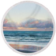 Ocean Painting - Days End Round Beach Towel