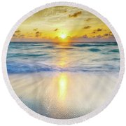 Ocean Reflections At Sunrise Round Beach Towel