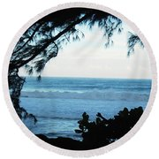 Ocean Silhouette Round Beach Towel