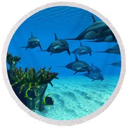 Ocean Striped Dolphins Round Beach Towel