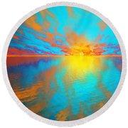 Ocean Sunset  Round Beach Towel