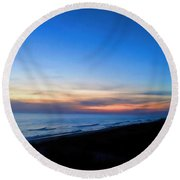 Ocean View Of Sunset On The Beach At Cape San Blas, Florida Round Beach Towel