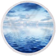 Ocean With Calm Waves Background With Dramatic Sky Round Beach Towel