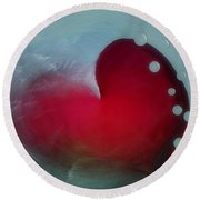 Oceans Heart Round Beach Towel