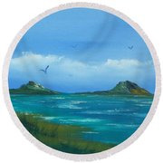 Oceans Islands Round Beach Towel