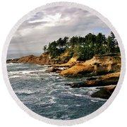 Oceanside - Depoe Bay Round Beach Towel