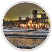 Oceanside Pier Hdr  Round Beach Towel