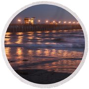 Oceanside Pier In The Mist Round Beach Towel