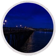 Oceanside Pier Night Image Round Beach Towel