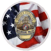 Oceanside Police Department - Opd Officer Badge Over American Flag Round Beach Towel