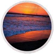 Oceanside Sunset Round Beach Towel