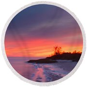 Ochlockonee Bay Sunrise Round Beach Towel